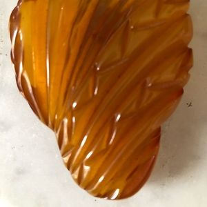 Bakelite Jewelry - VTG. BUTTERSCOTCH BAKELITE DRESS CLIP ABSTRACT